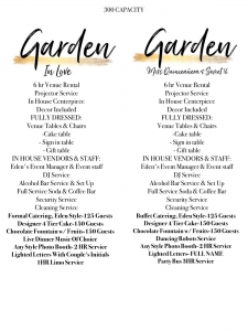 Garden Packages Eden Event Venue