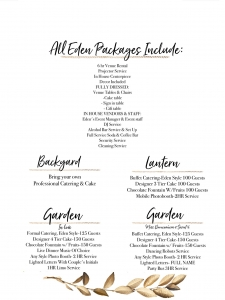 Wedding Venue Packages at Eden Event of El Paso